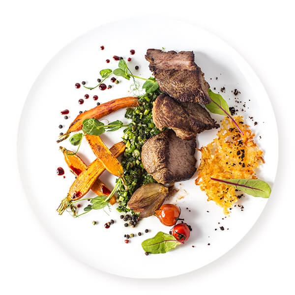 Pieces of beef with vegetables